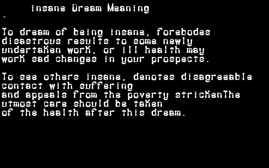 dream meanings insane