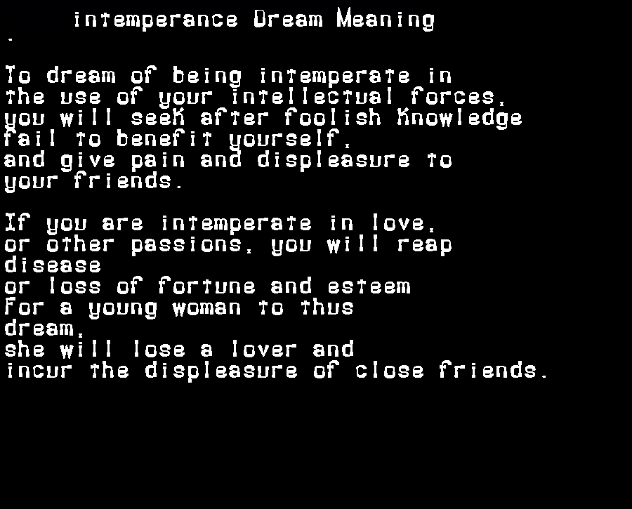 dream meanings intemperance