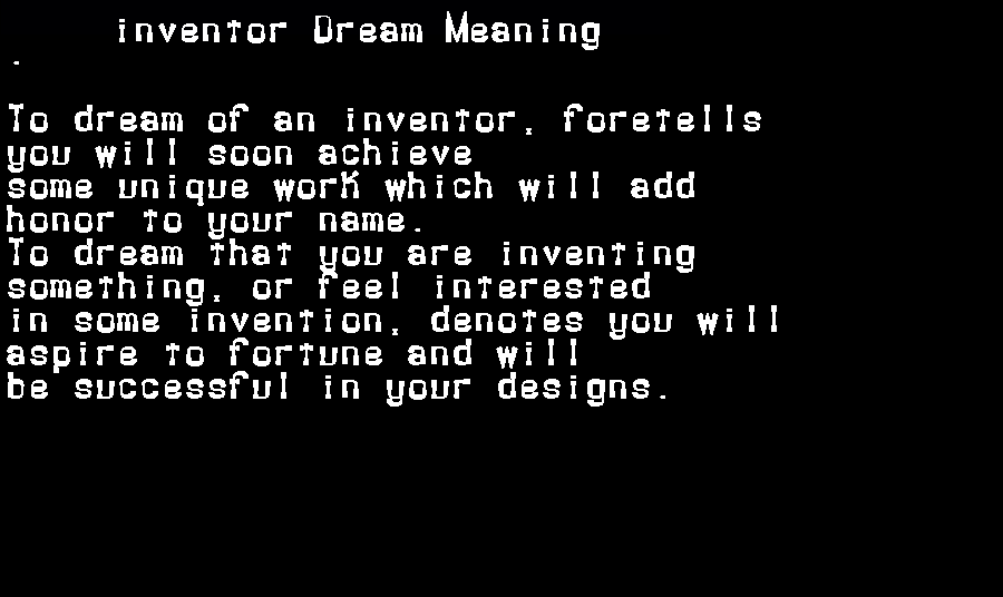 dream meanings inventor