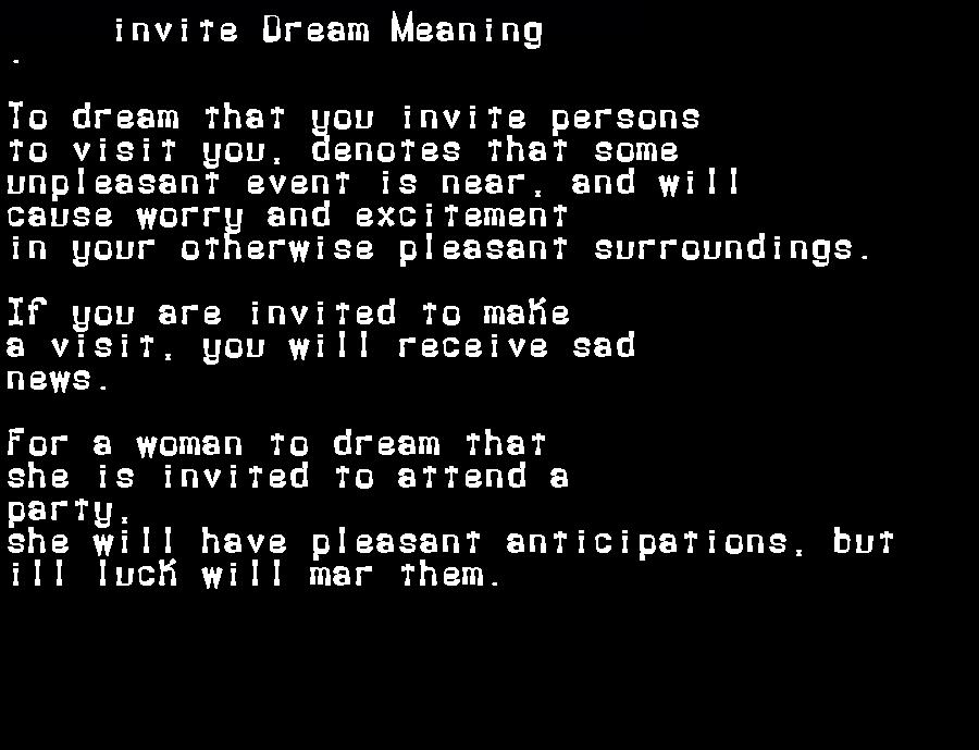 dream meanings invite