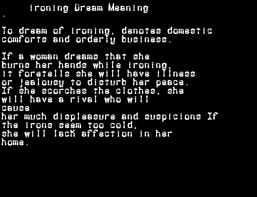 dream meanings ironing