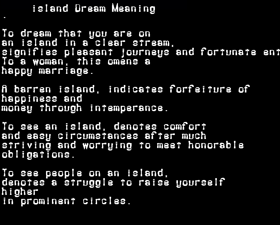dream meanings island