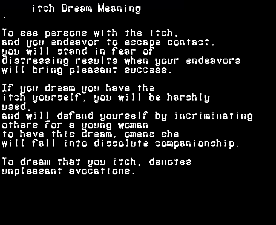 dream meanings itch