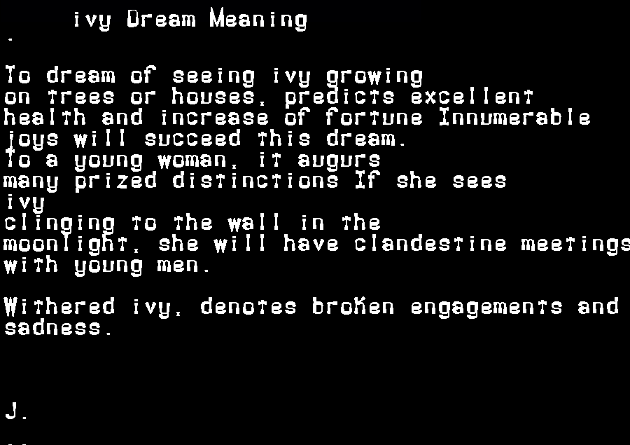 dream meanings ivy