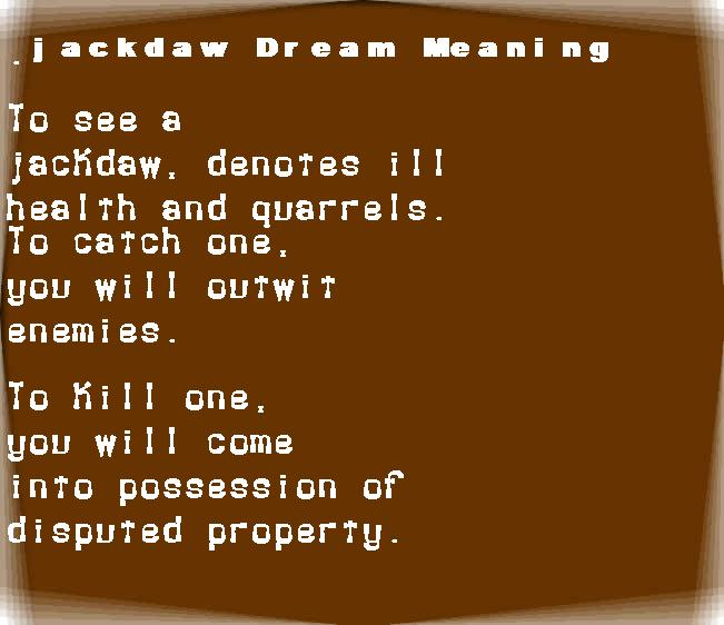 dream meanings jackdaw