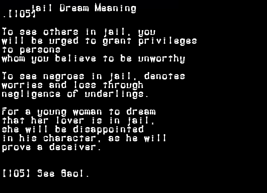 dream meanings jail
