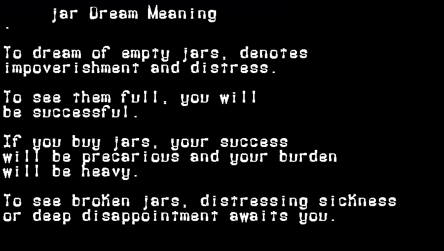 dream meanings jar