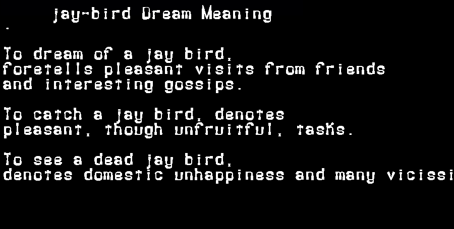 dream meanings jay-bird