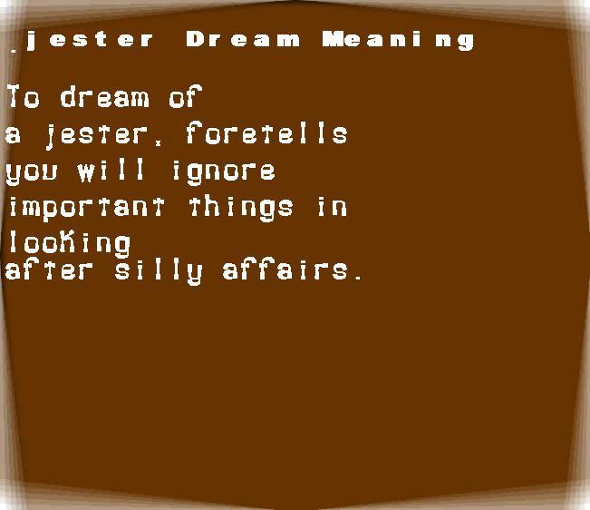 dream meanings jester