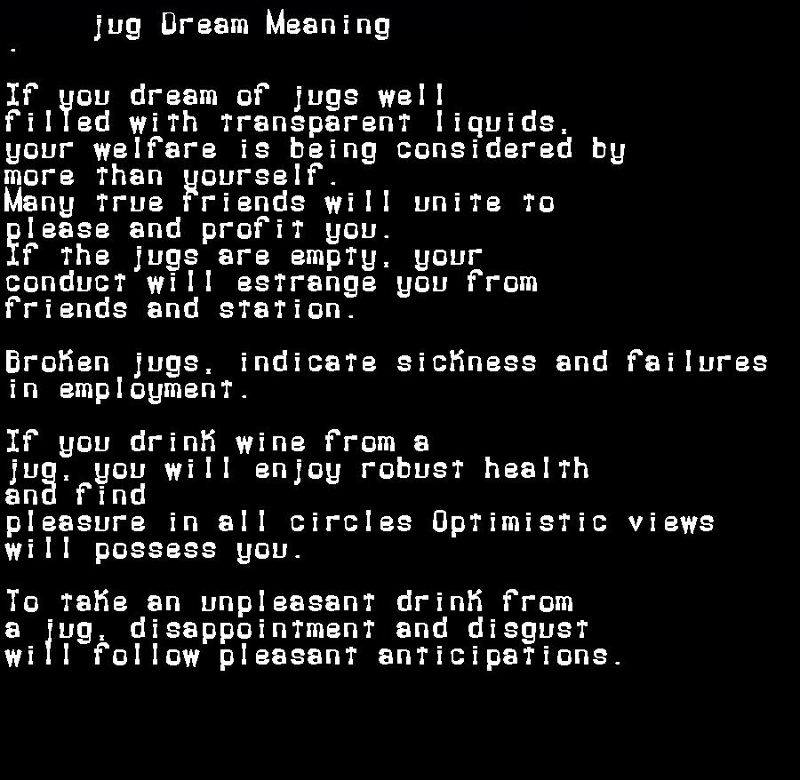 dream meanings jug