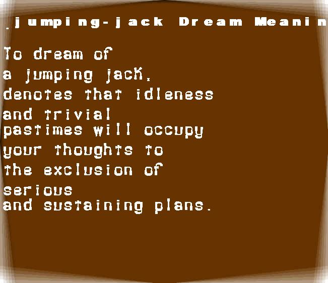 dream meanings jumping-jack