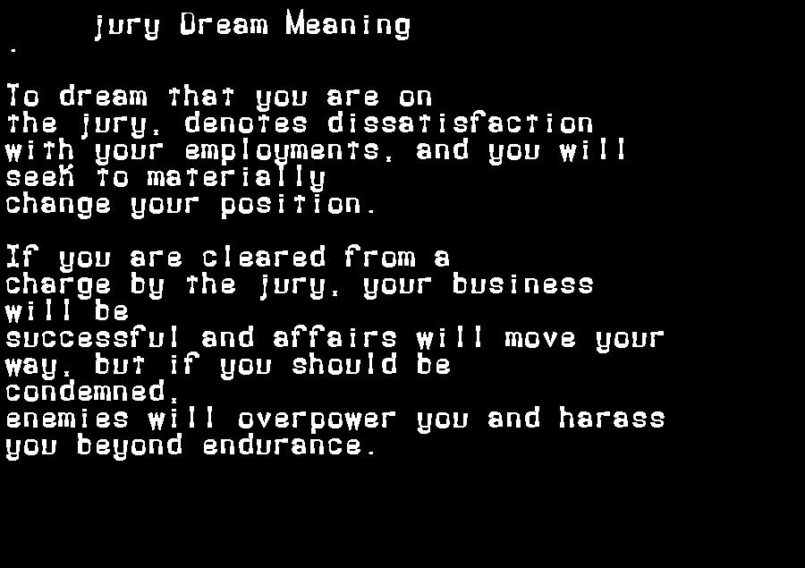 dream meanings jury