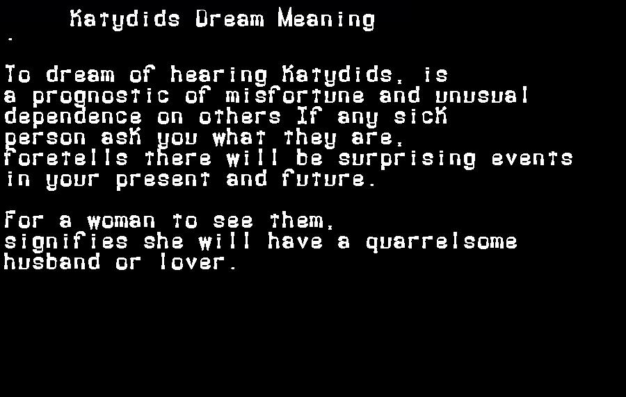 dream meanings katydids