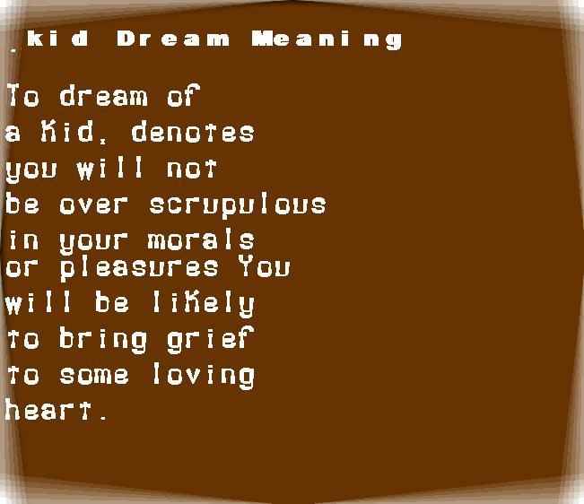 dream meanings kid