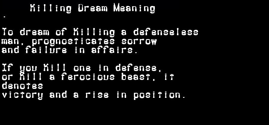 dream meanings killing