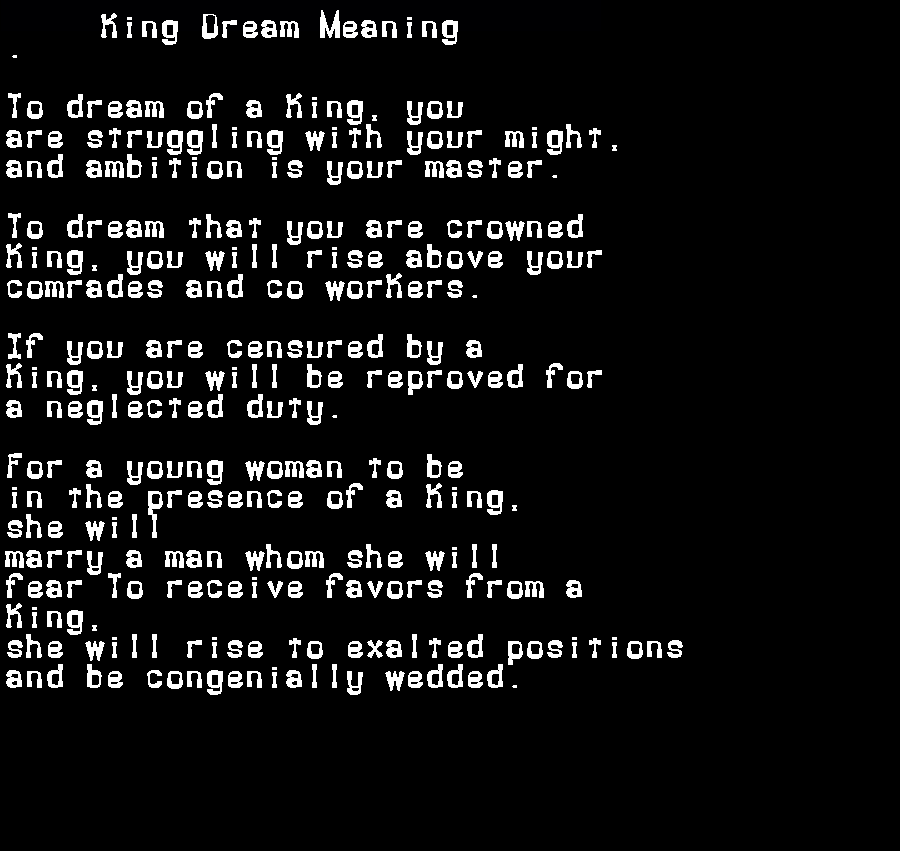 dream meanings king
