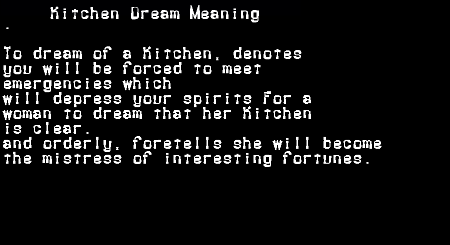 dream meanings kitchen