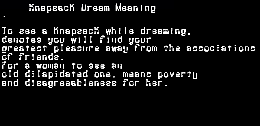 dream meanings knapsack