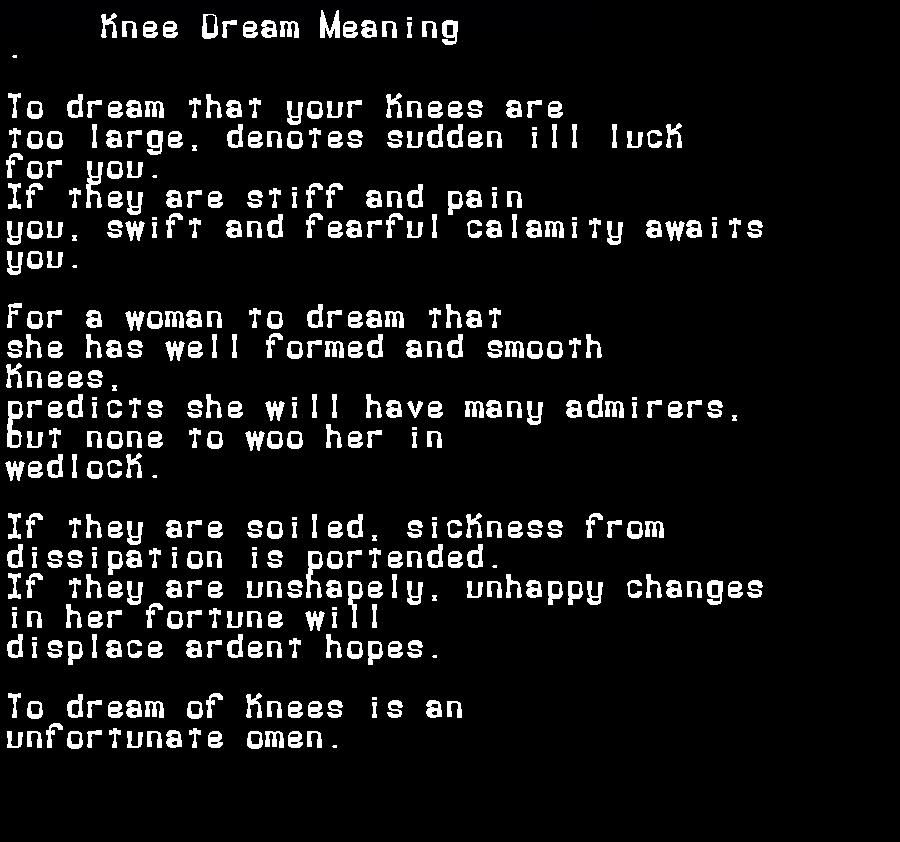 dream meanings knee