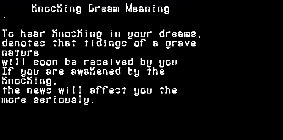 dream meanings knocking