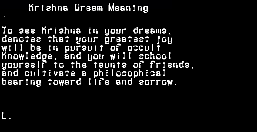 dream meanings krishna