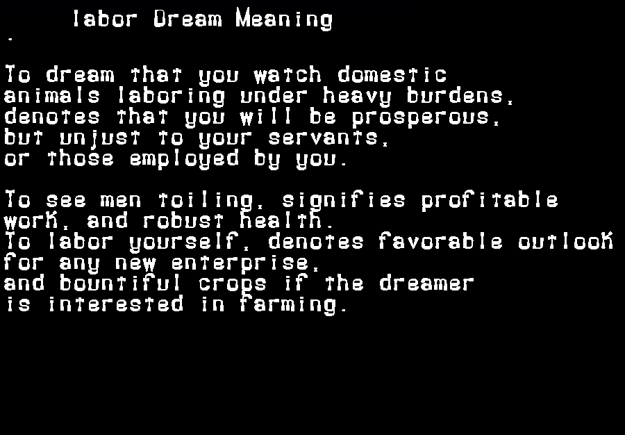 dream meanings labor