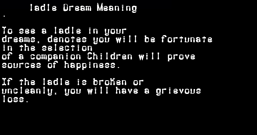 dream meanings ladle