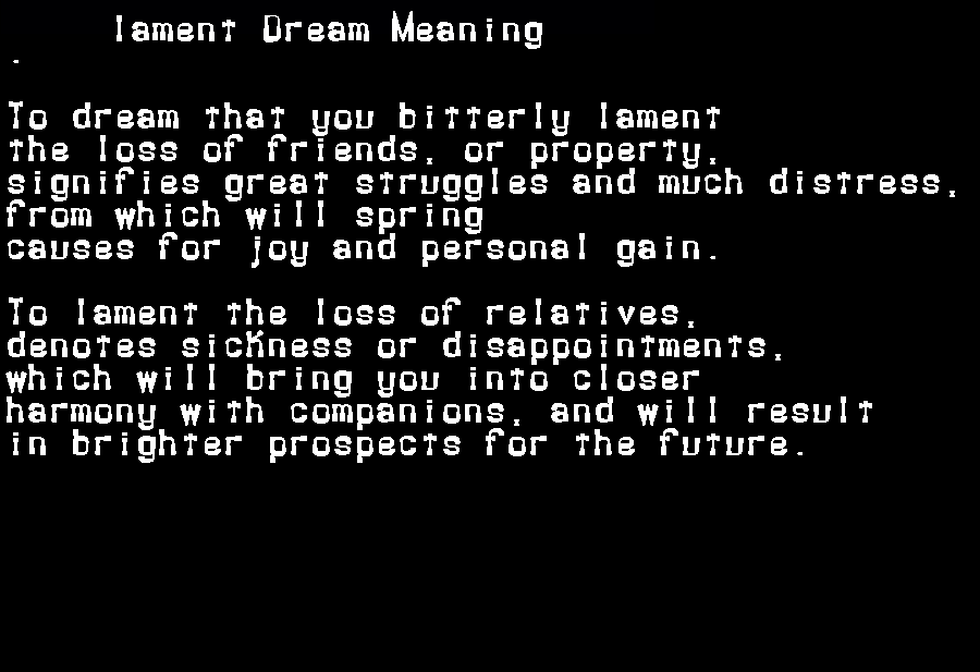 dream meanings lament
