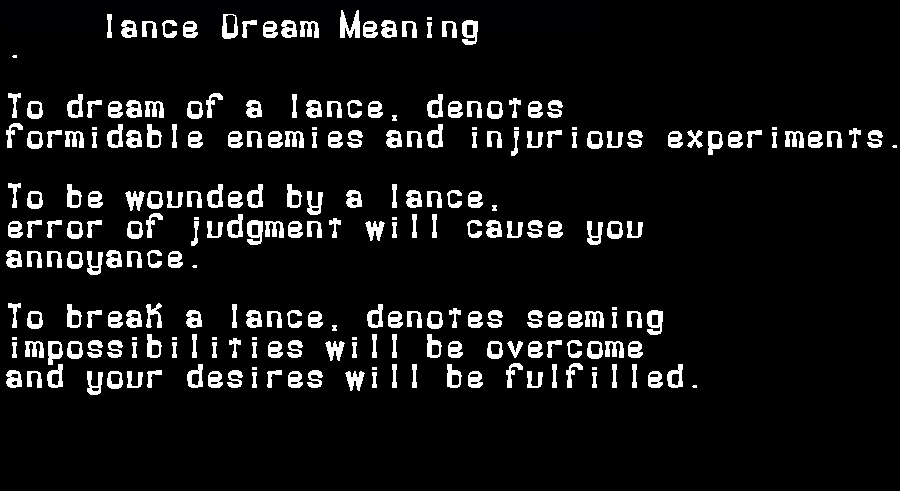 dream meanings lance