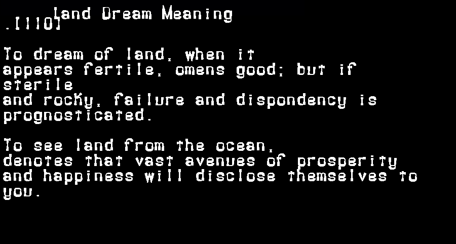 dream meanings land