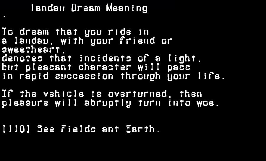 dream meanings landau