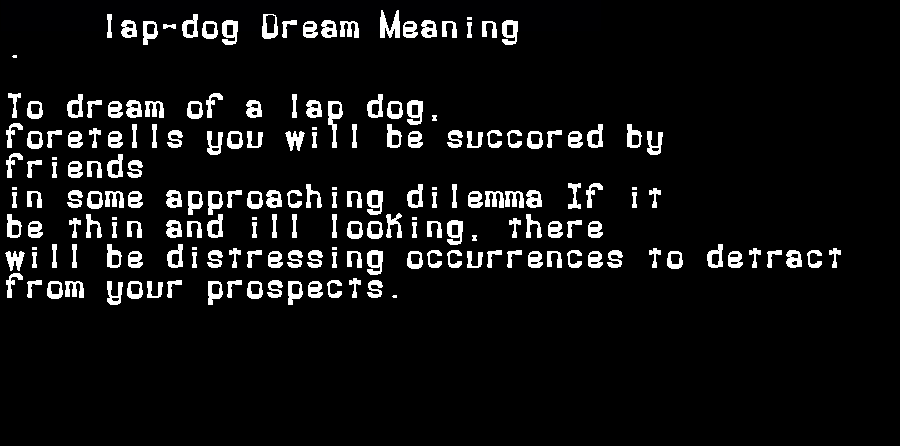 dream meanings lap-dog