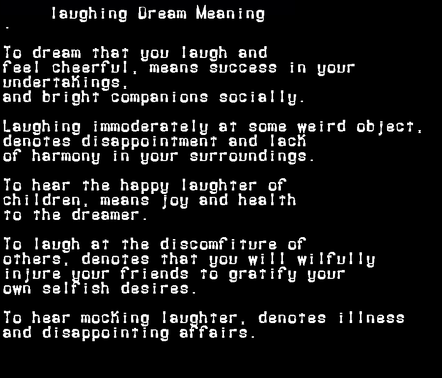 dream meanings laughing