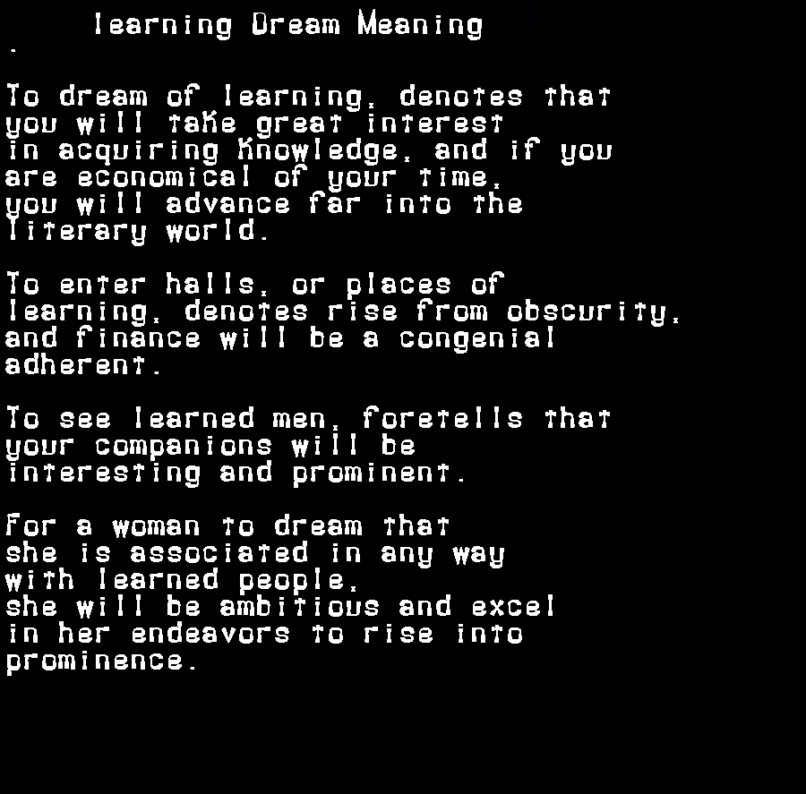 dream meanings learning
