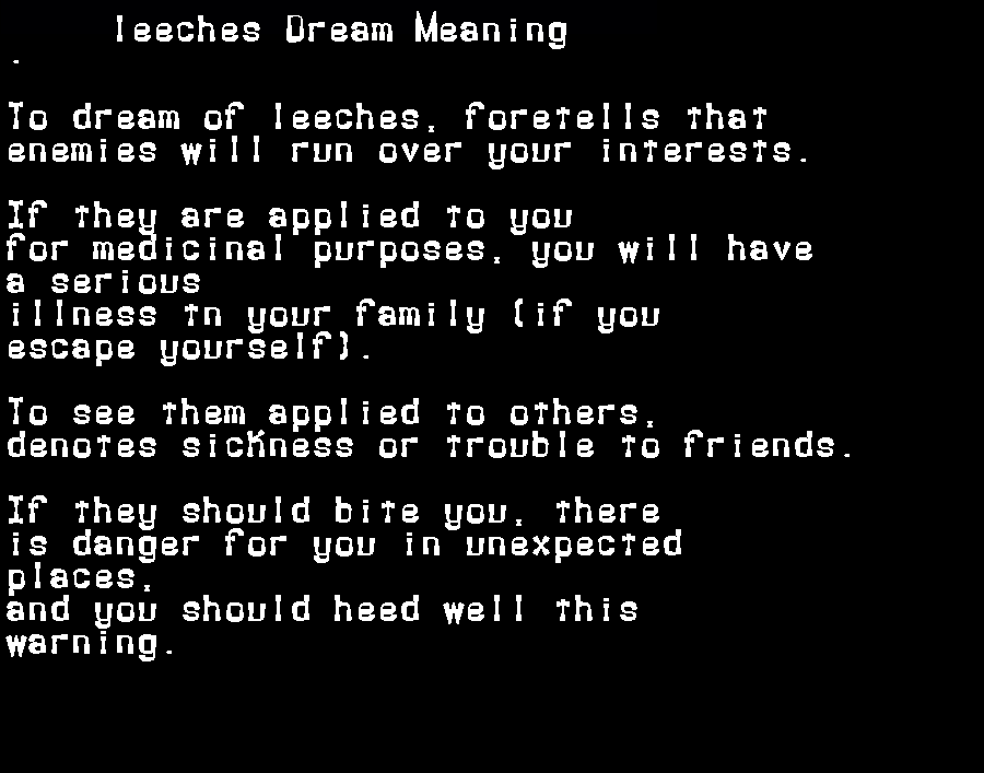 dream meanings leeches