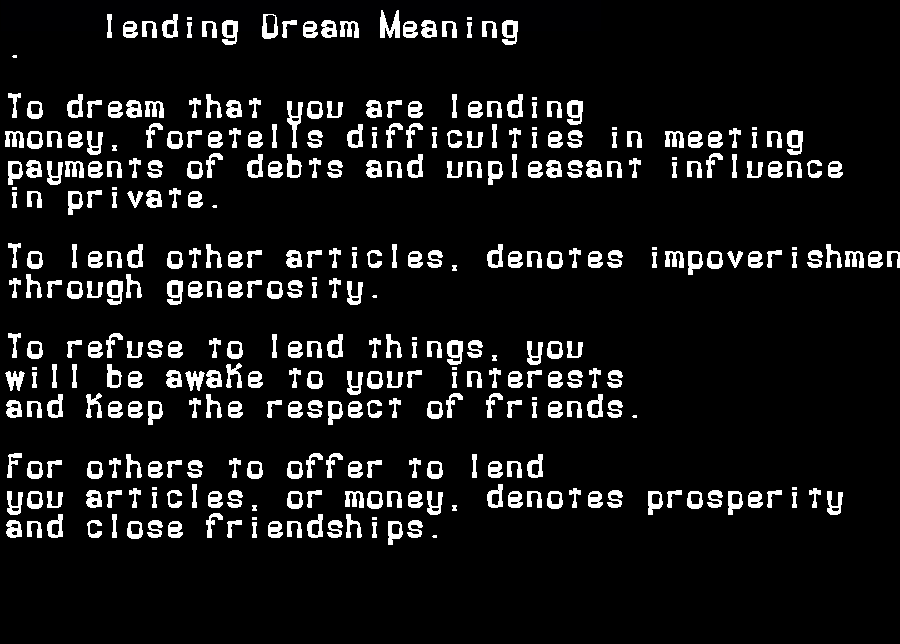 dream meanings lending
