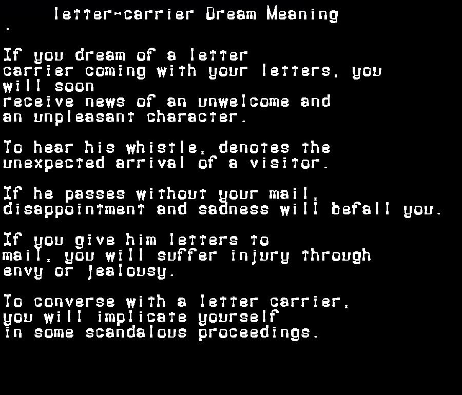 dream meanings letter-carrier