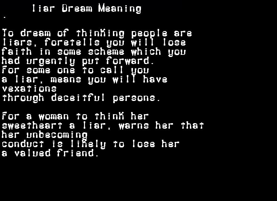 dream meanings liar