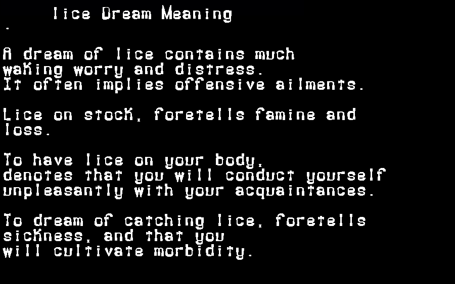 dream meanings lice