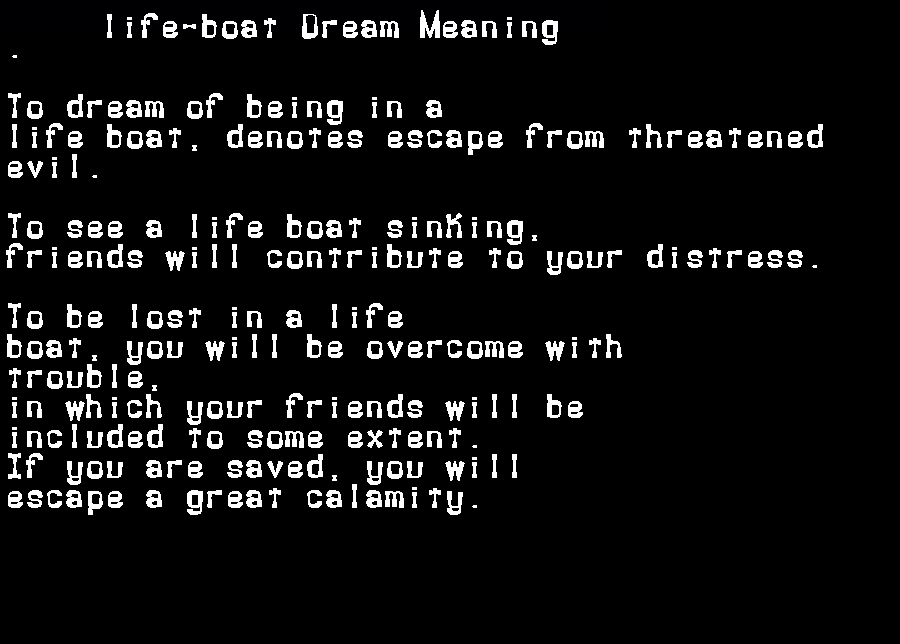 dream meanings life-boat