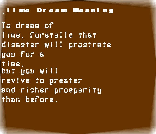 dream meanings lime