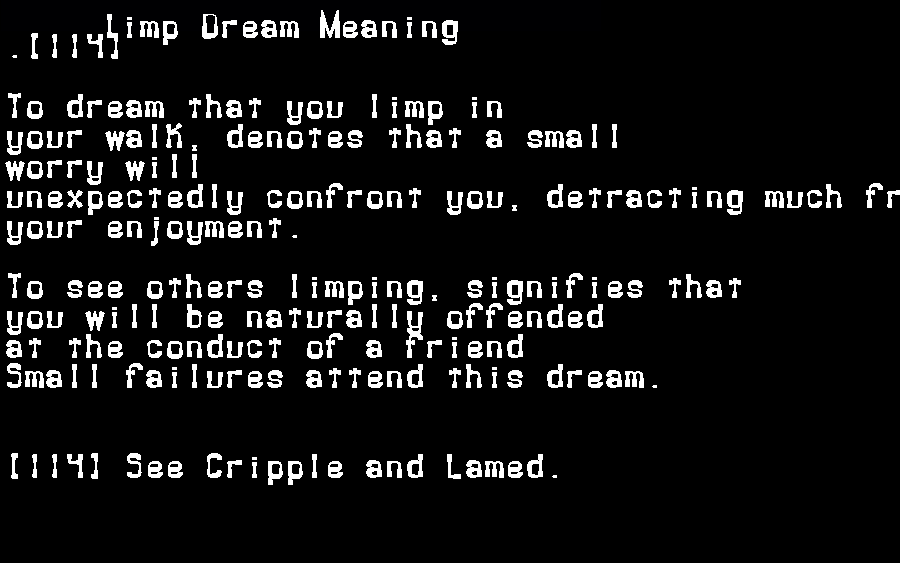 dream meanings limp