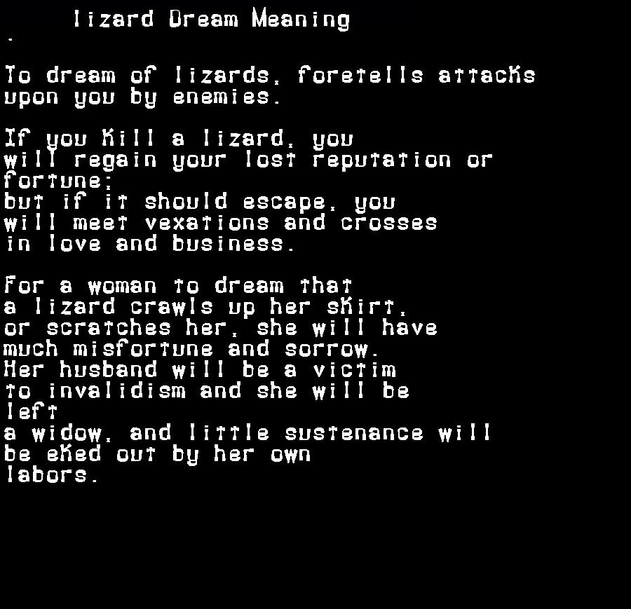 dream meanings lizard