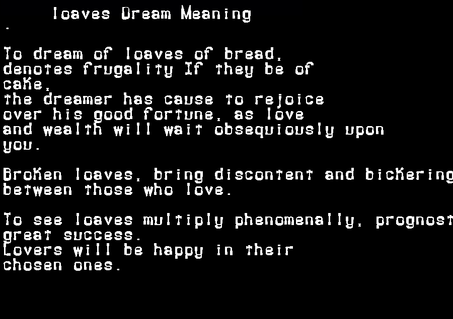 dream meanings loaves