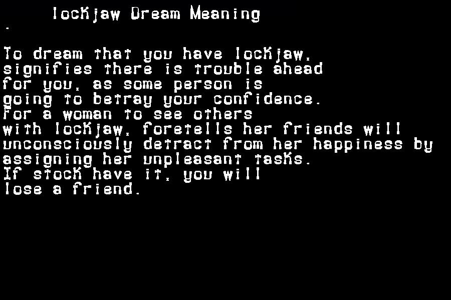 dream meanings lockjaw