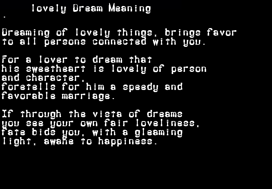 dream meanings lovely