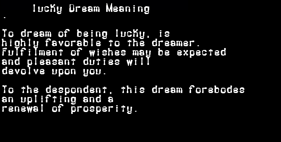 dream meanings lucky