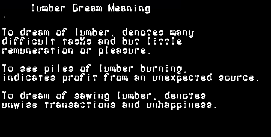 dream meanings lumber