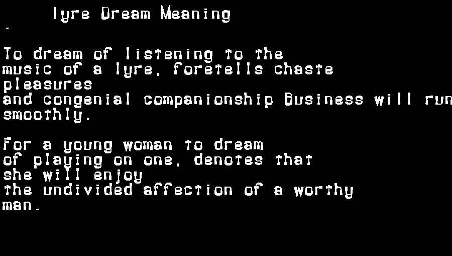 dream meanings lyre