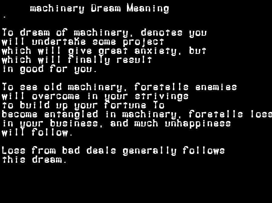 dream meanings machinery
